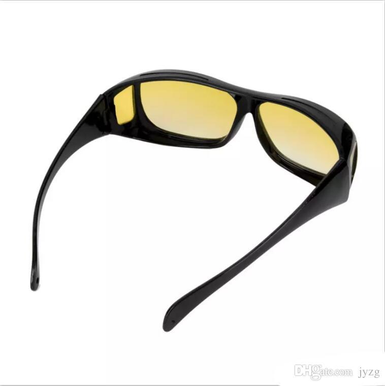 Atacado HD Visão Noturna Condução Óculos De Sol Dos Homens Lente Amarela Sobre Envoltório Em Torno de Óculos de Condução Escuro UV400 Óculos de Proteção Anti Glare presentes
