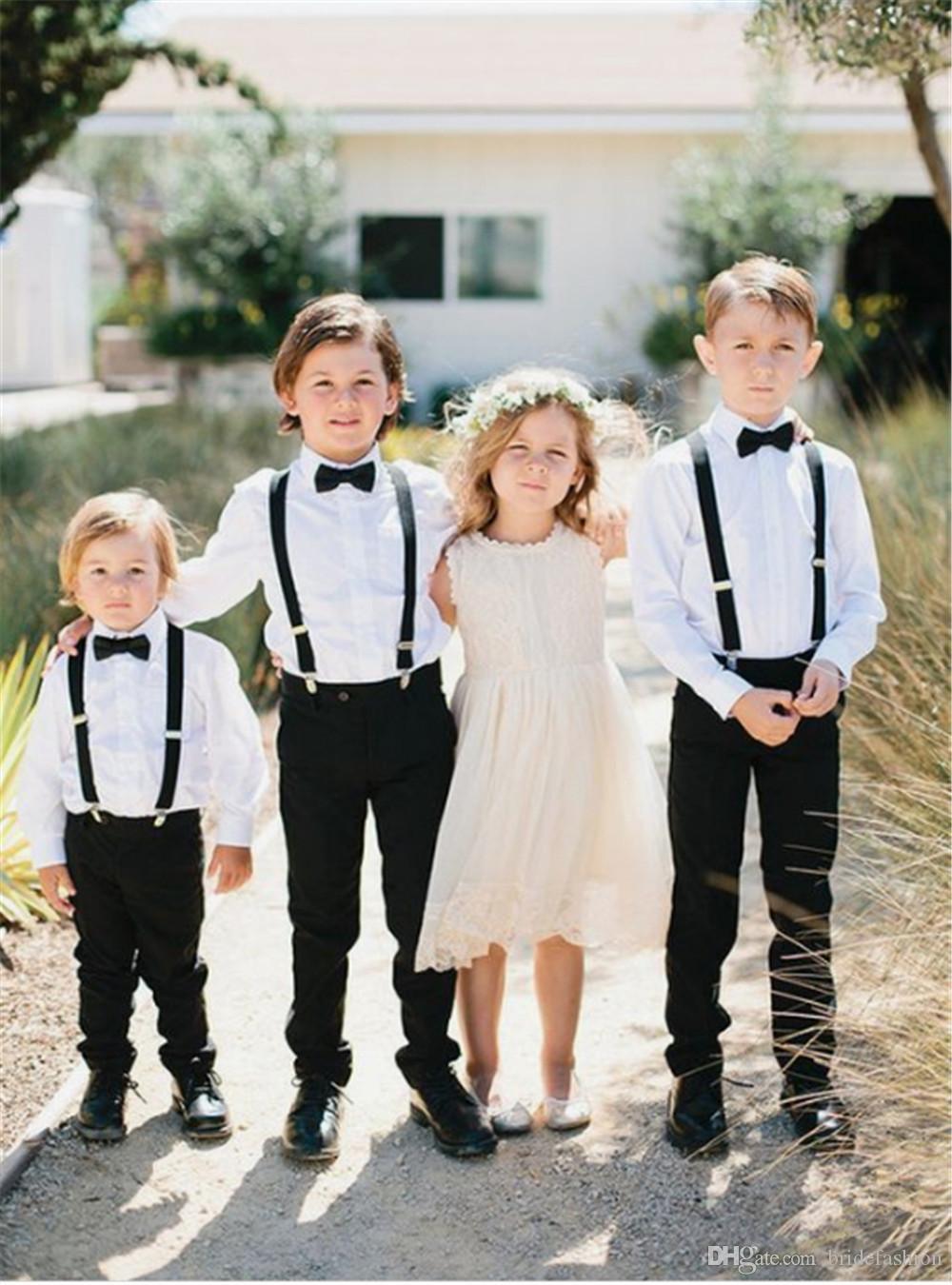 e7eba1541012a Acheter Vêtements De Cérémonie Pour Garçons Set De Fête De Mariage Blanc  Chemise À Manches Longues Pantalon Noir Invité De Mariage Enfants Tenue De  Soirée ...