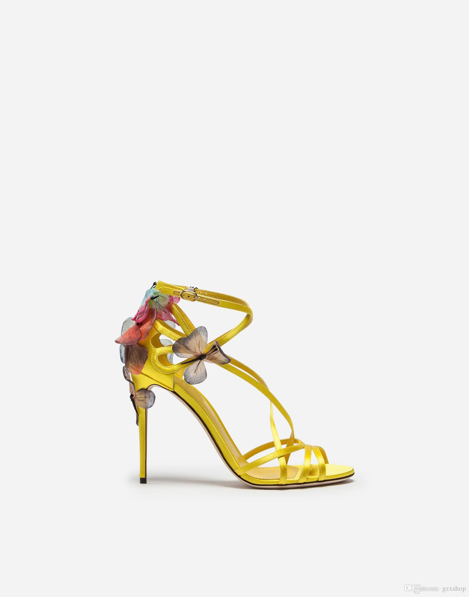 Summer Beautiful Women Ankle Bowtie One Strap Sandals Yellow Pink Thin Heel Ankle Wrap High Heel Sandals Wedding Party Shoes Woman
