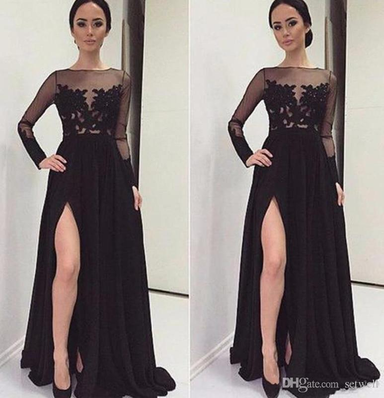 Elegant Black Side Split Prom Dresses Summer Chiffon Long Sleeves ...