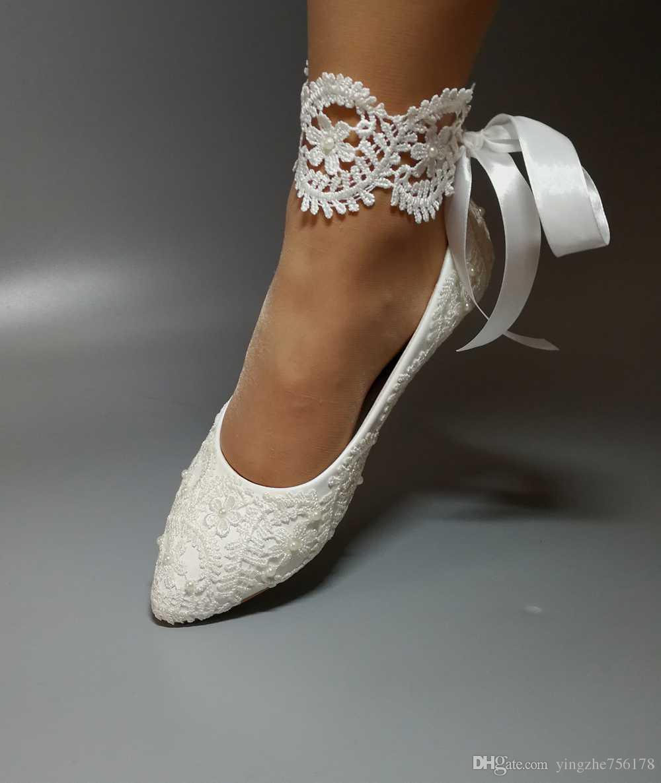 Wedding Shoes Waterproof White Bride Dresses Han Edition Diamond Lace Manual Flat Shoe Female Butterfly Bridal Usa: Dress Flat Wedding Shoes At Websimilar.org