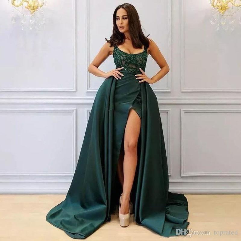 2019 Formal Saudi Arabia Side Split Prom Dress With Over-Skirt Sexy Open Square Neck Applique Beaded Lace Prom Dress Mermaid Evening Gown