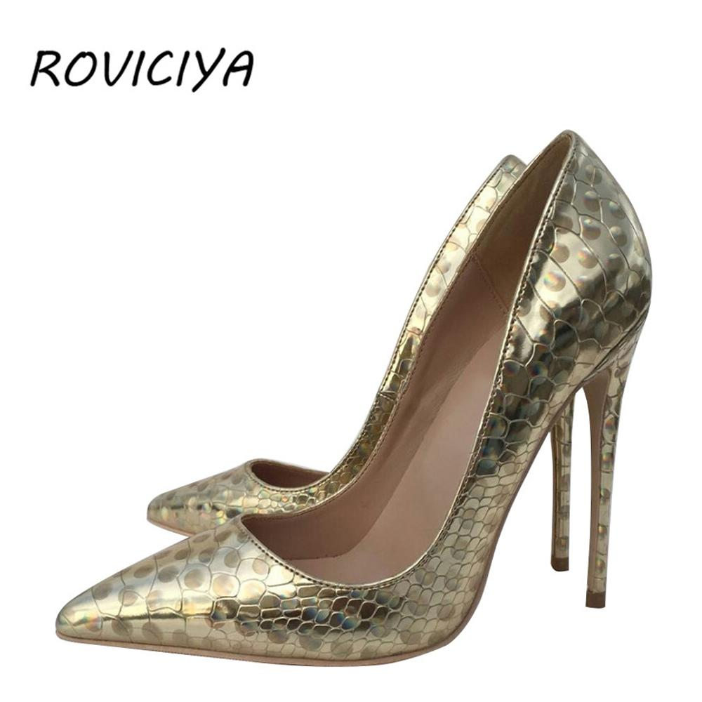692012c0ac3 Party gold wedding shoes women pointed toe sexy high heels pumps 12 cm  stilettos shallow plus size QP046 ROVICIYA