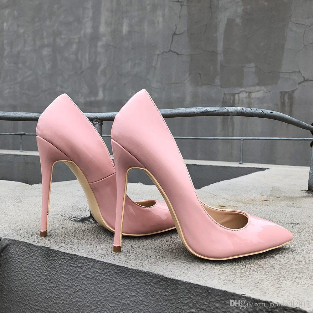 57e8a1139367 LADY 2018 Classic Paten Leather Women Stiletto High Heels Pink Ladies Party  Pointed Toe Pumps Shoes Color Deck Shoes Boat Shoes For Men From  Goodsell2017