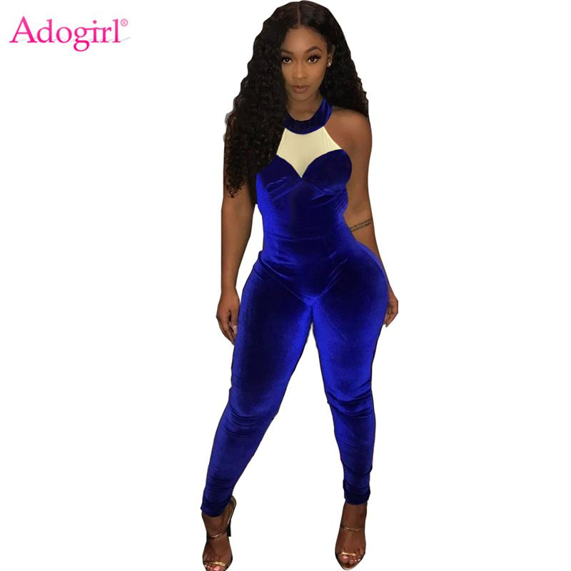 fac2a5f55a5 2019 Adogirl Color Patchwork Royal Blue Velvet Jumpsuits Sleeveless Halter  Women Romper 2018 Autumn Fashion Overalls Night Clubwear From Layette66