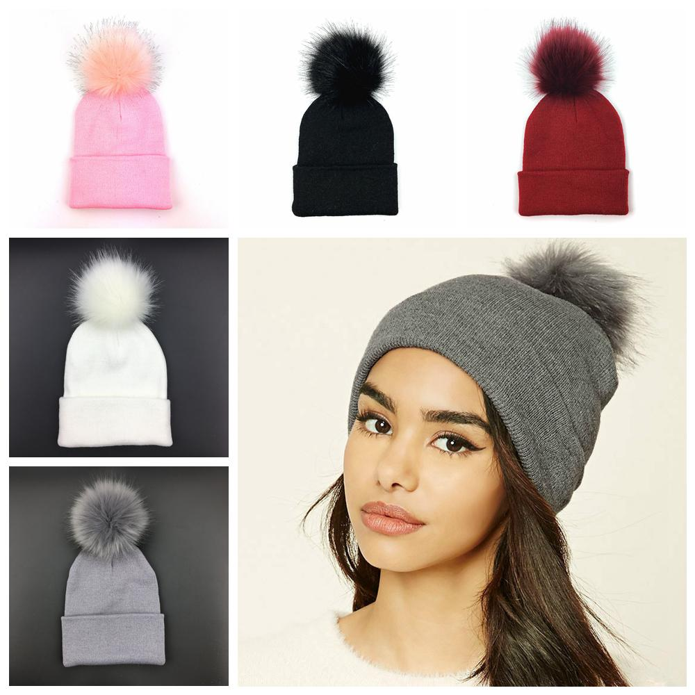5styles Knitted Hat Plus Pom Beanie Classic Tight Fur Pom Hat Women Cap  Outdoor Sport Headgear Headdress Head Warmer Party Hat FFA979 Beanies For  Girls Baby ... bbd0bc0d8cf