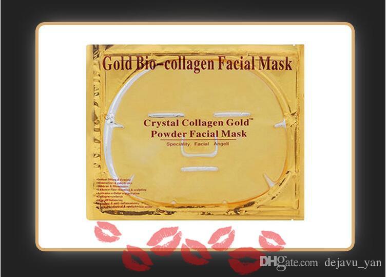 Mascarilla Facial Gold Bio - Colágeno Barro Hoja facial Máscaras Polvo de cristal dorado Hidratante Anti envejecimiento Blanqueamiento Cuidado de la piel Belleza más suave