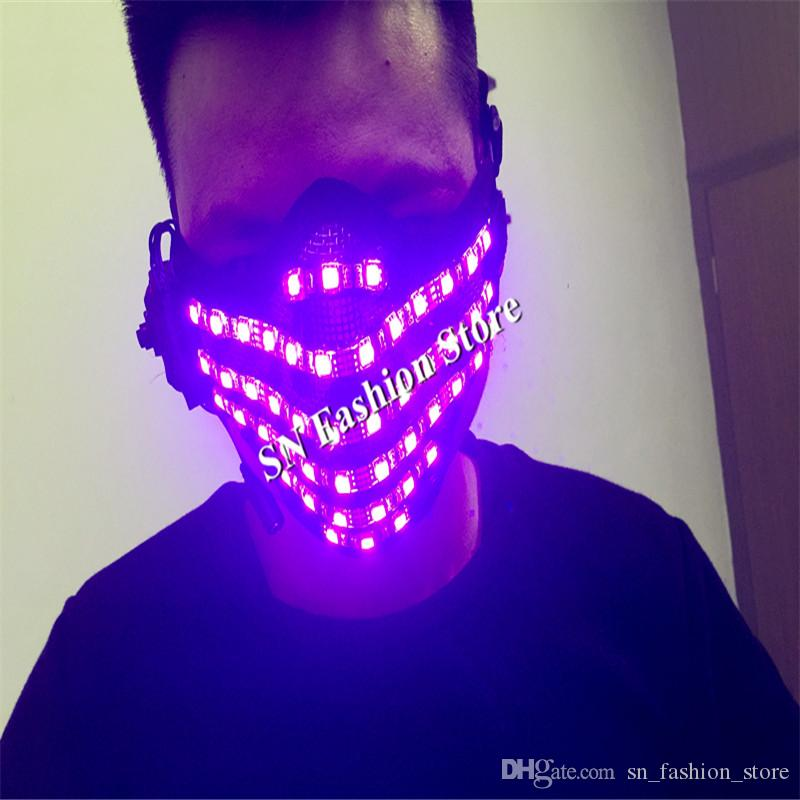 T95 Ballroom dance led costumes colorful light RGB led mask mens wears mask dj disco stage wears clothled robot dance costumes performance