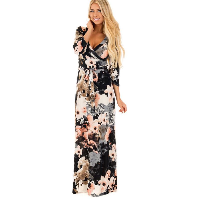 80b440674f 3 4 Sleeve Long Dress Floral Printed Fashion Women Casual Long Dress Loose  Boho Beach Maxi Elegant Floral Dress For Woemn Dress Fashion Clubwear  Dresses ...