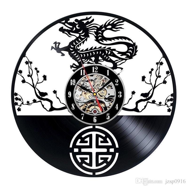 China Dragon Vinyl Record Wall Clock Kitchen Unique Wall Decor Art Design  Home Furnishings SouvenirSize: 12 Inches, Color: Black Clocks For The Wall  Clocks ...
