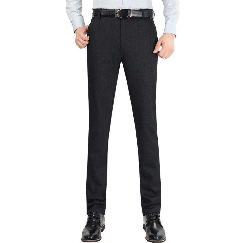 Size 29-38 Wrinkle Free Wedding Black Mens Formal Pants Office Workwear Casual Men Suit pants Slim Fashion Business Trousers