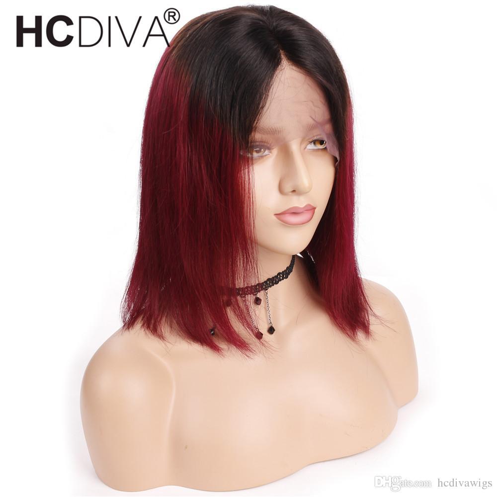 Ombre 1B BUG Bob Wigs 13X4 Lace Front Human Hair Wigs For Black Women  T1B Burgundy Brazilian Straight Remy Hair Short Bob Wigs HCDIVA Wig Canada  2019 From ... 98163d4b5e