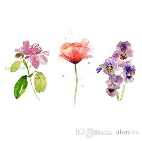 Waterproof Temporary Tattoo Watercolor Rose Moth Orchid Flowers Tatto Stickers Flash Tatoo Fake Tattoos For Girl Women Lady