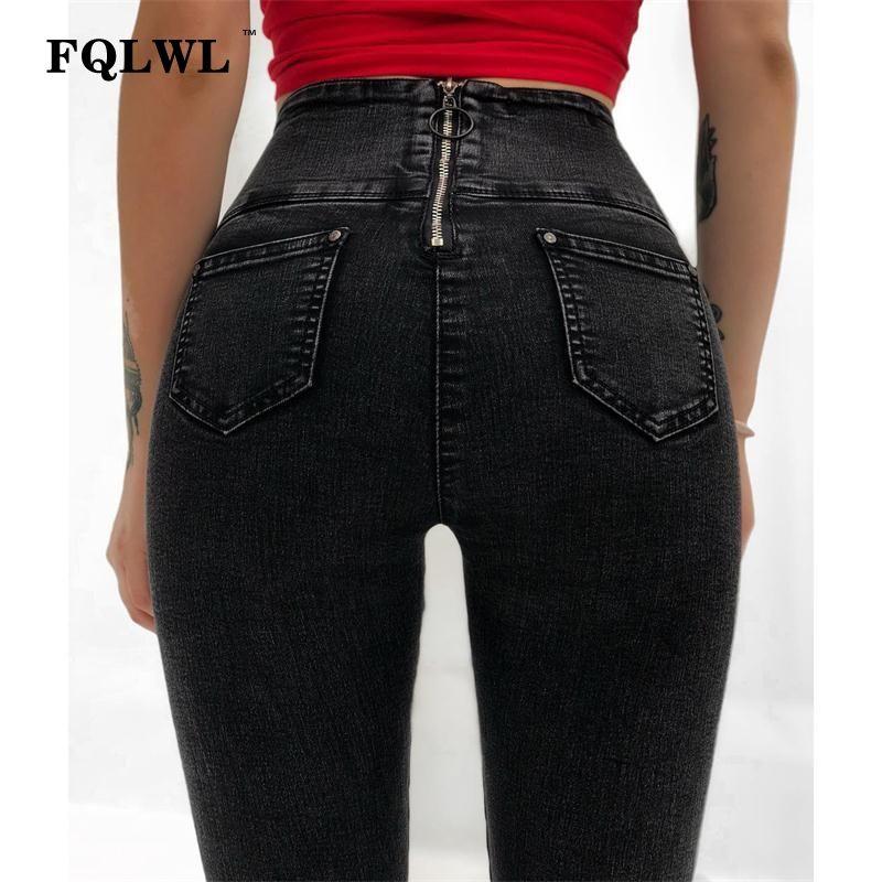 the latest fc743 010ed FQLWL Back Zipper Skinny Jeans Woman Push Up High Waist Black Slim Pencil  Jeans Female Vintage Denim Stretch Pants Womens