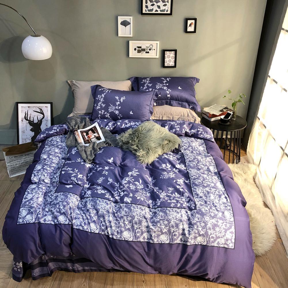 2018 plaid white flowers purple duvet cover set egyptian cotton bed 2018 plaid white flowers purple duvet cover set egyptian cotton bed cover queen king size bedlinens pillowcases sheet bedroom comforters retro bedding from mightylinksfo