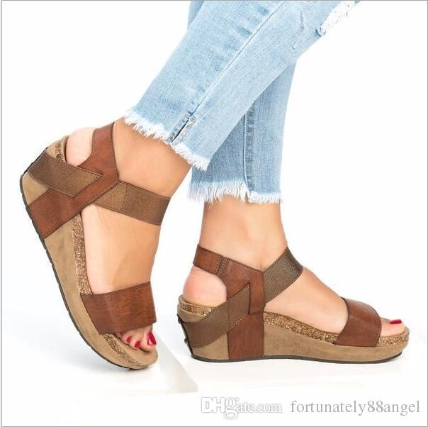 Plateauschuhe Keilabsatz Sommer 42 Mode Strand Frauen Sandalen Größe Plus Weibliche Schuhe Komfortable 8Nn0Ovmw
