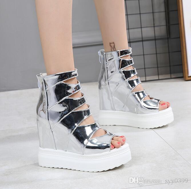 3 colour High-quality Woman New style platform shoes fish mouth shoes wedge heel Cut-Outs sandals Zip hight top shoes Size34~39