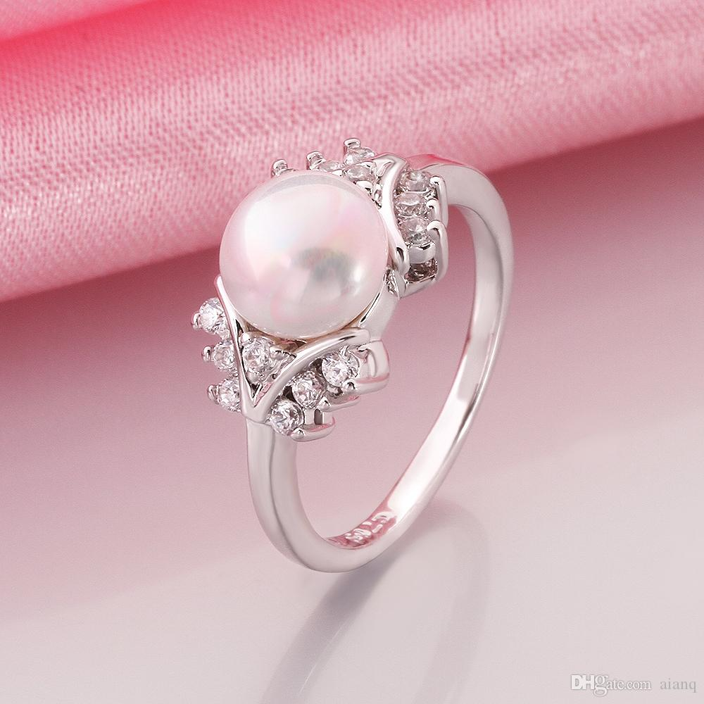 2018 Women Imitation Platinum Large Pearl Ring Inlaid Tiny Crystal ...