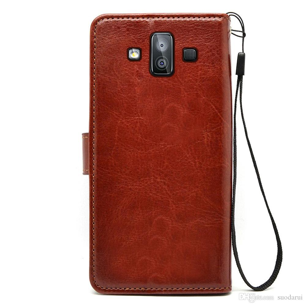 reputable site bc5cc ee05c Flip leather Case for samsung galaxy j7 duo TPU PU Leather Magnetic Book  Wallet Cover Pouch With Lanyard