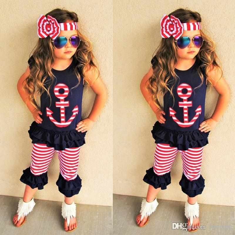cde48c55b849 2019 Baby Girl Clothing Set Kids Toddler Outfit Boutique Clothes Suit Black  Shirt Shorts Pants Headband Summer Tracksuit Playsuit From Formore