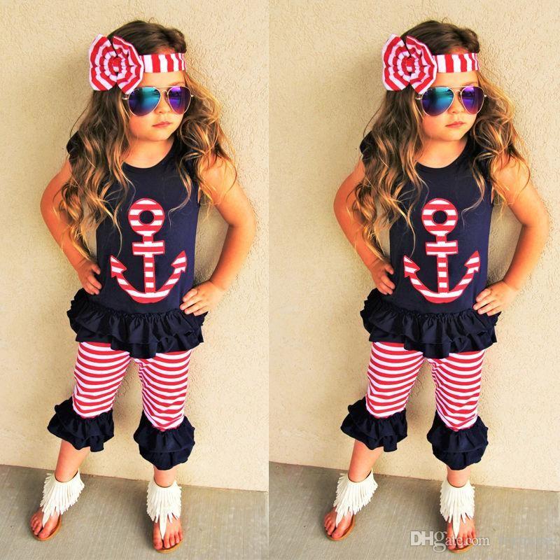 95edb867a Ropa de bebé niña Set Niños Ropa de niño Boutique Ropa Traje Camisa negra  Pantalones cortos Pantalones Diadema Verano Chándal Traje