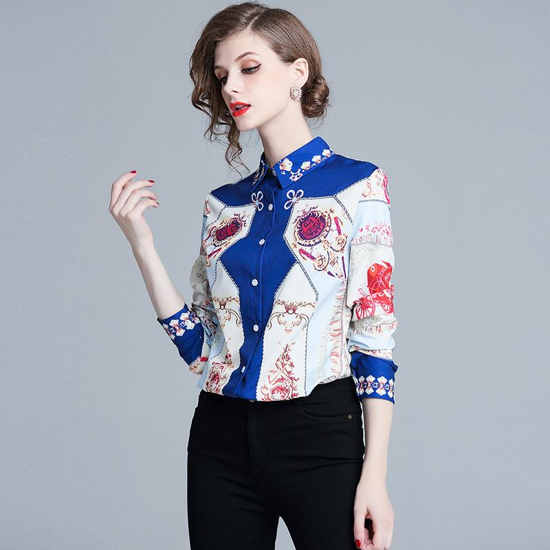 0c7809863 Compre Camisa Casual Diaria Para Niñas Blusa Floral Solapa Cuello De Manga  Larga Camisas Rectas De Un Solo Pecho Estampado Recto A  31.06 Del  Sinofashion ...