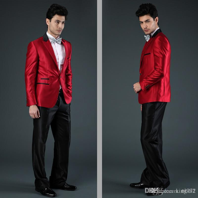 king Fashion Men Suits Best selling new wedding dress 2018 men suit wedding red one button two pieces Jacket+Pants