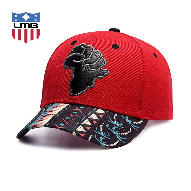 LMB Map Leather Patch Embroidery Brim Printing Men Red Brand Design Casual Fashion Unisex Caps Snapback Hats Women Baseball Caps