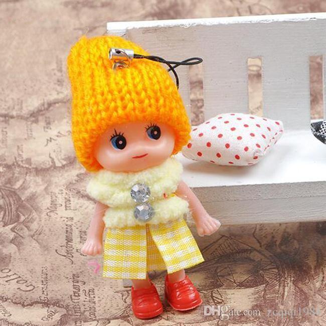 Juguetes lindos de los niños muñecas interactivas suaves del juguete de las muñecas del bebé, mini llavero de la muñeca para el tenedor dominante dominante del anillo de las muchachas