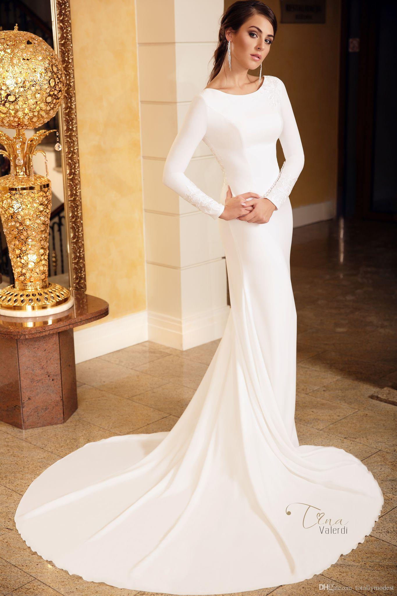a9e5cc5f8da7e 2018 Crepe Mermaid Modest Wedding Dresses With Long Sleeves Jewel Neck  Sheer Lace Back Simple Country Boho Modest Bridal Gown New Arrival Short  Wedding ...
