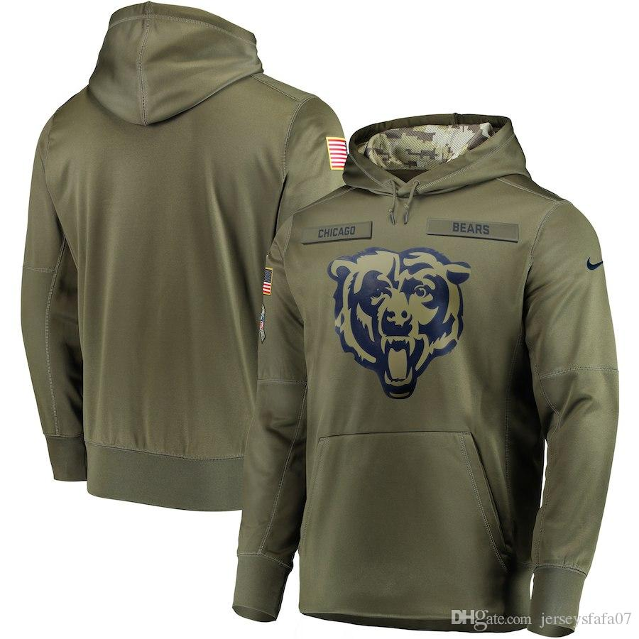 Sideline Therma Sweatshirt Pullover Chicago 2018 Bears Olive Men Performance To Service Hoodie Salute