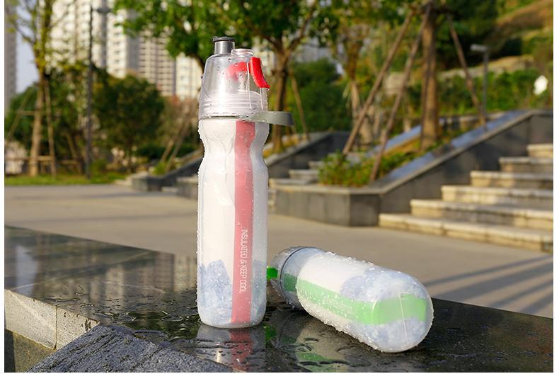 Keep Cold Flasche Wasserkühler Halten Sie Eis Spray Wasser Tasse 500ml Outdoor Radfahren Camping Wasser Ausrüstung Wasserkocher Double-Deck Bierflasche DHL