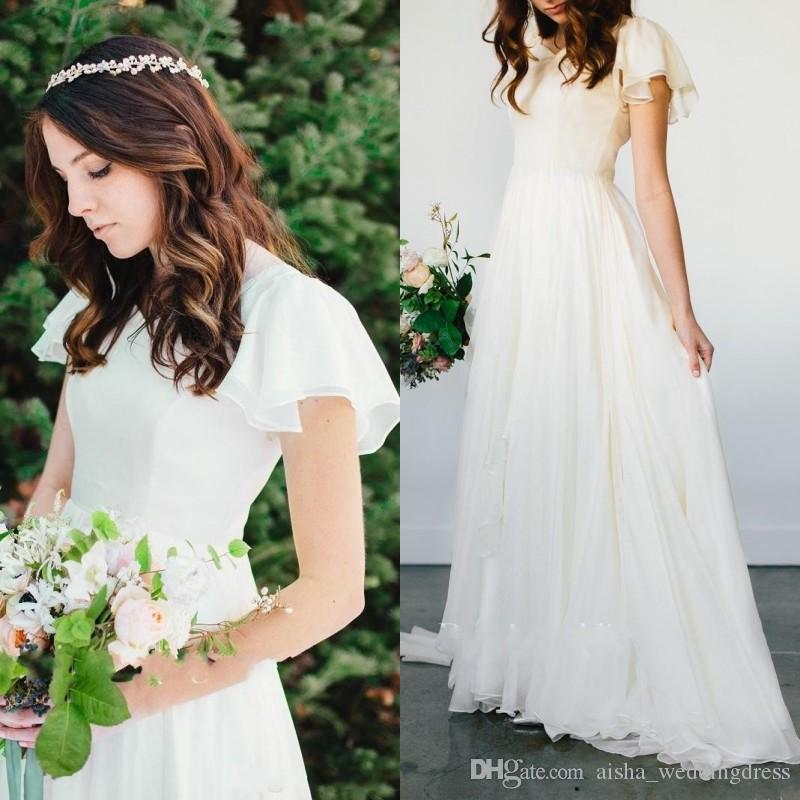 Discount Boho A Line Flowy Beach Wedding Dresses Short Sleeves ...