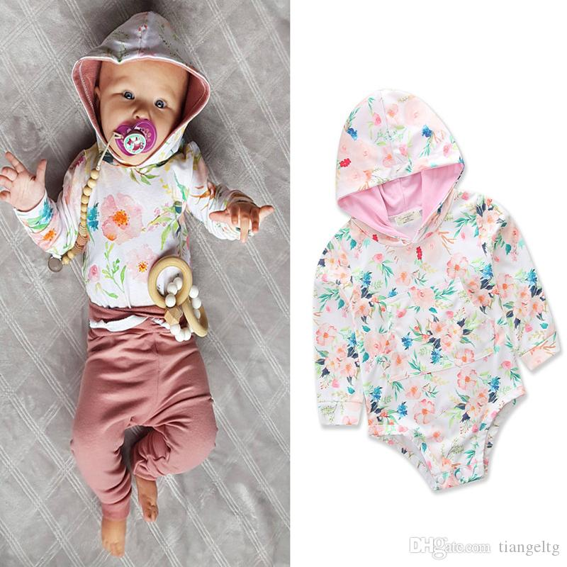 9fe2cdf42815 2019 Baby Girls Hooded Rompers Flower Printed Pocket Long Sleeve Triangle  Romper 100% Cotton Infant Toddler Jumpsuits Clothing Outfits 0 24M From  Tiangeltg