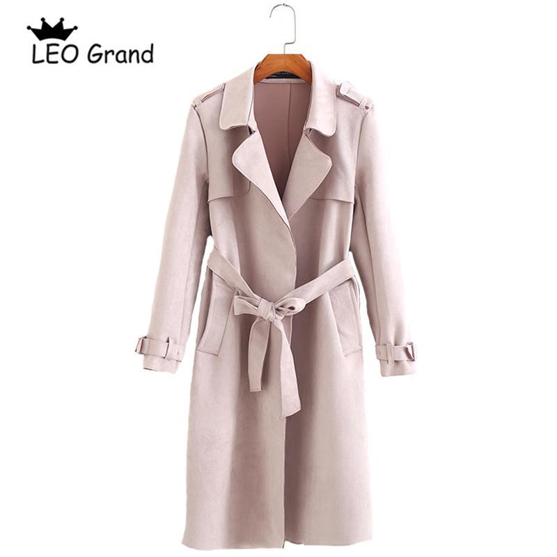 cheap for discount f30d5 9a7b9 Leo Grand donna rosa kaki cappotto girocollo cravatta a farfalla cravatta  con tasche outwear elegante lunga Trench 910064