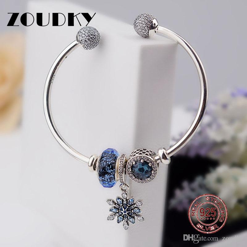 ZOUDKY Original 100% 925 Sterling Silver Moments 925 Silver Open Bracelet Set To Send A woman Gift Adjustable Bracelet & Bangle
