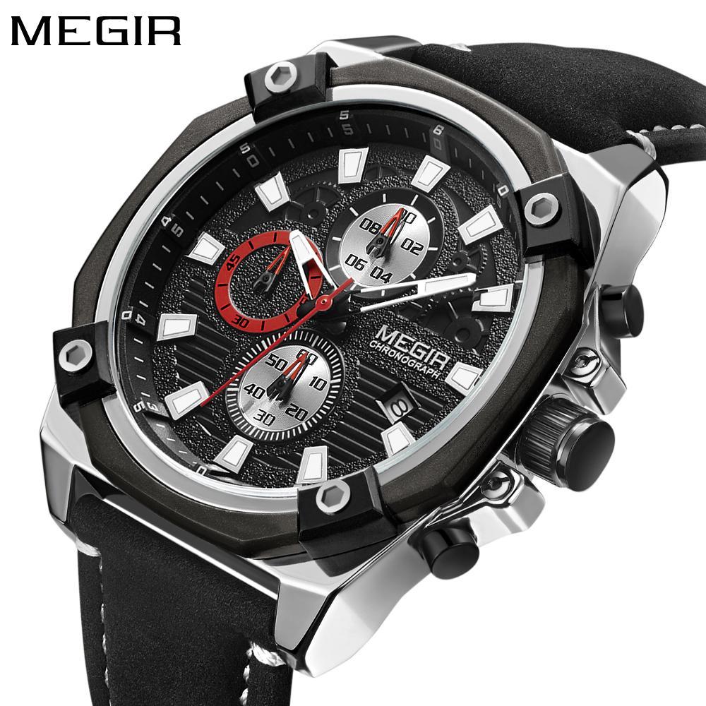 f04b7f6884a Compre Megir Relógio Dos Homens Top Marca De Moda De Luxo Cronógrafo Esporte  Homens Relógios De Couro Relógio De Quartzo Relogio Masculino Horloges  Mannen ...