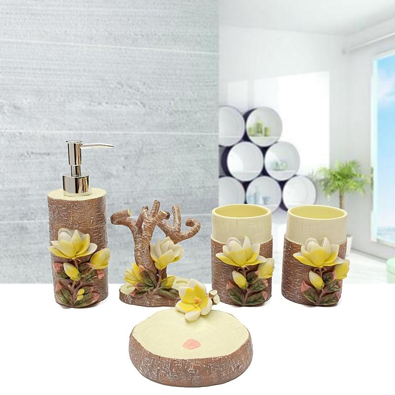 High End 3D Magnolia Scalpture Bathroom Accessories Set Soap Holder ...