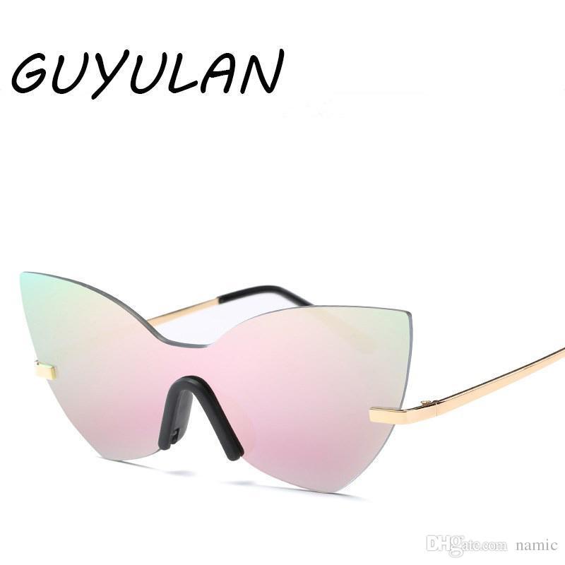 5ed67f00e863 GUYULAN Retro Cat Eye Driving Goggles Black Sunglasses UV400 Women Rimless Metal  Frame Color Lens Brand Silver Glasses Free Box Prescription Sunglasses ...