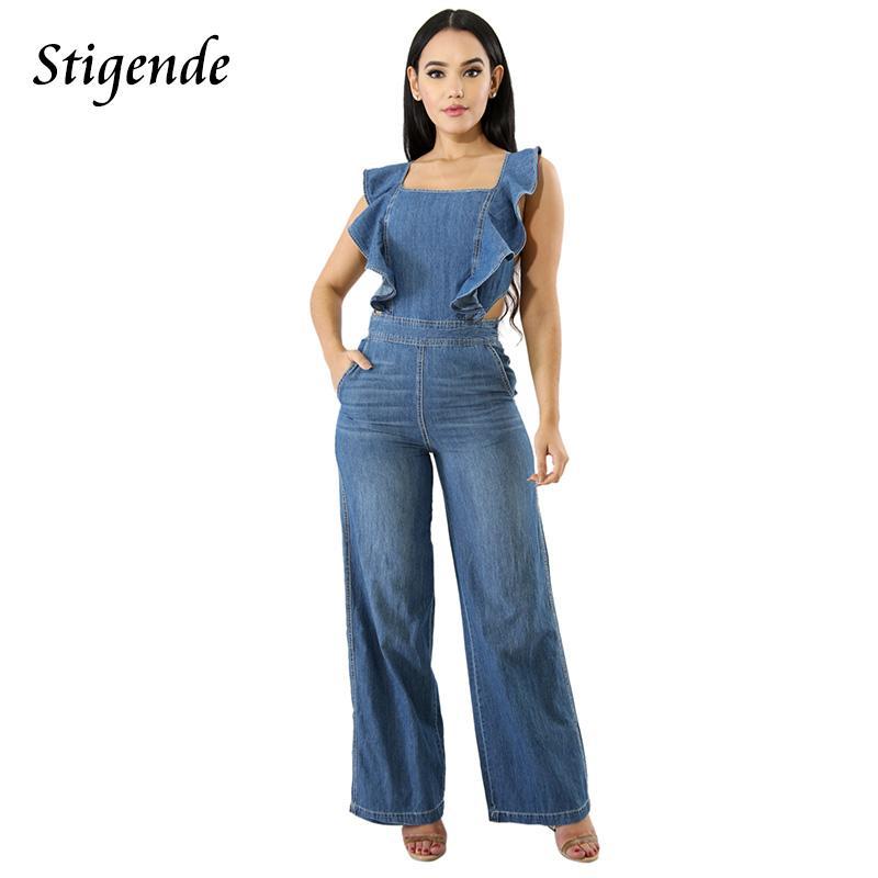9648c5414cbe 2019 Stigende Womens Spaghetti Strap Jumpsuit Casual Bodycon Wide Leg Denim  Jumpsuit Sleeveless Elegant Ruffle Sexy Clubwear From Erzhang