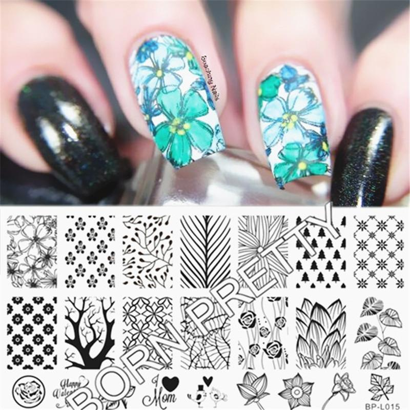 Born Pretty Nail Stamping Plates Forest Pattern Trees Nail Art Stamp