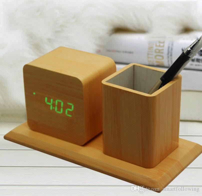 2018 Office Desk Clock Black Wooden White Led Digital Touch Control Silent Modern Style Alarm Dc 5v 4 Aaa Batteries From