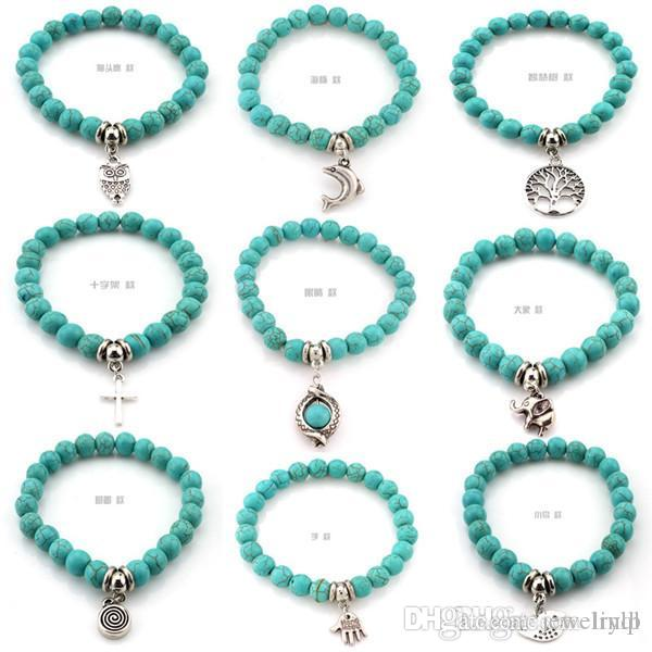 9695682141 Natural Lava Stone Turquoise Prayer Beads Charms Bracelets Anti ...