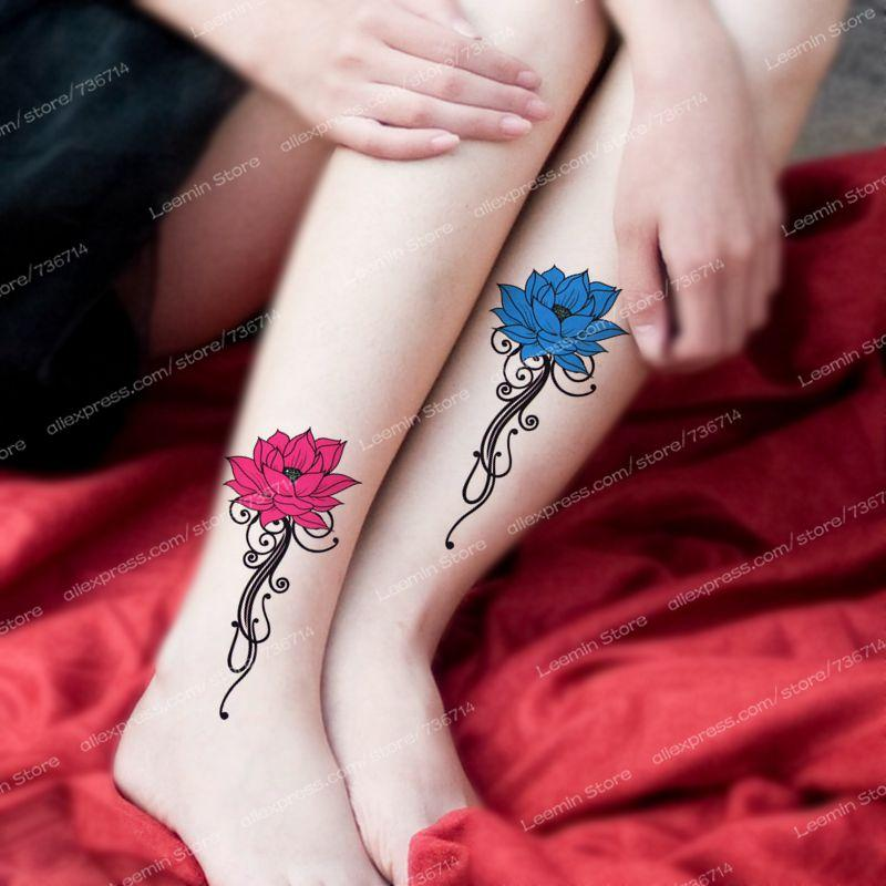 Pink And Blue Lotus Flower Temporary Tattoo Vivid Tattoo Sticker