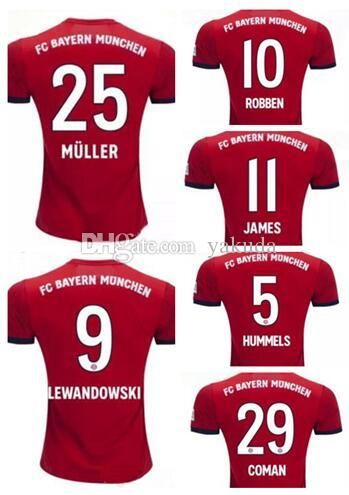 the best attitude 66b6c 660f8 Customized 18-19 Bayern Munich 25 MüLLER Thai Quality Soccer Jerseys  Shirts,10 ROBBEN 11 JAMES 23 VIDAL 27 ALABA 7 RIBERY 32 Kimmich wears