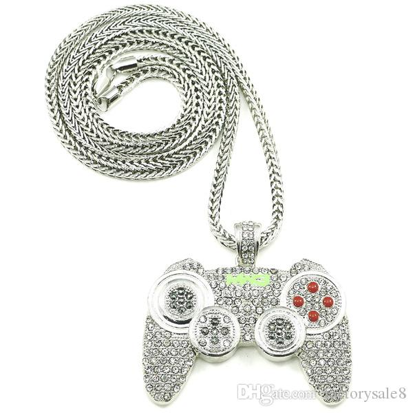 2018 Hip Hop Game Machine Mango Collar Colgante Para Hombre Cristal Completo Collar Pesado Moda Iced Out Game control Necklace