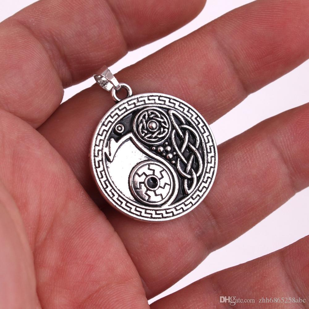 New Styles Raven pendant morrigan crow raven yin yang amulet jewelry