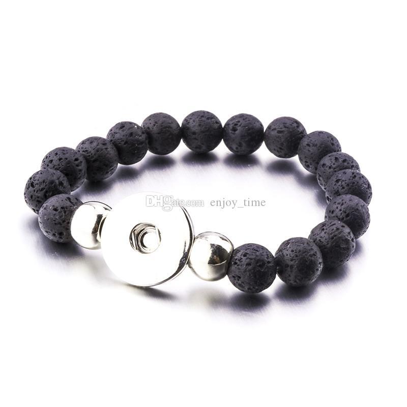 Noosa 10mm Black Lava Stone Turquoise Bead Snap Button Braccialetto Aromaterapia Diffusore di olio essenziale bracciale le donne Bottone a pressione gioielli