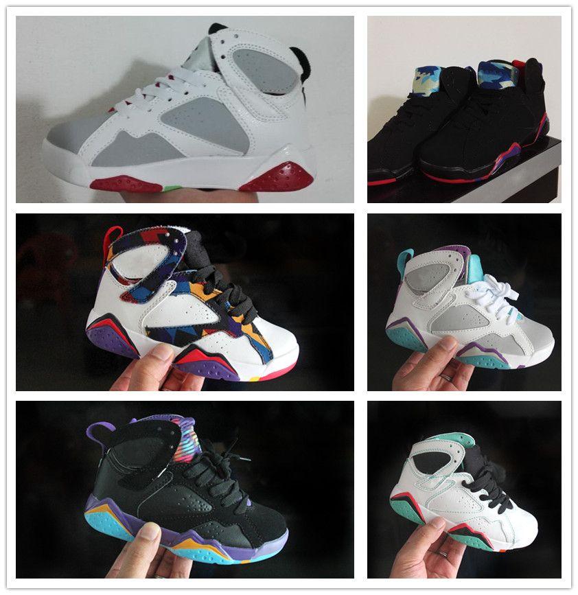 promo code 2a46e 2e9b6 Großhandel Nike Air Jordan Aj7 Marke Jungen Mädchen 7s OG Schwarze Katze Basketball  Schuhe Kinder Sportschuhe Kleinkinder Kinder Korb Ball Schuhe ...