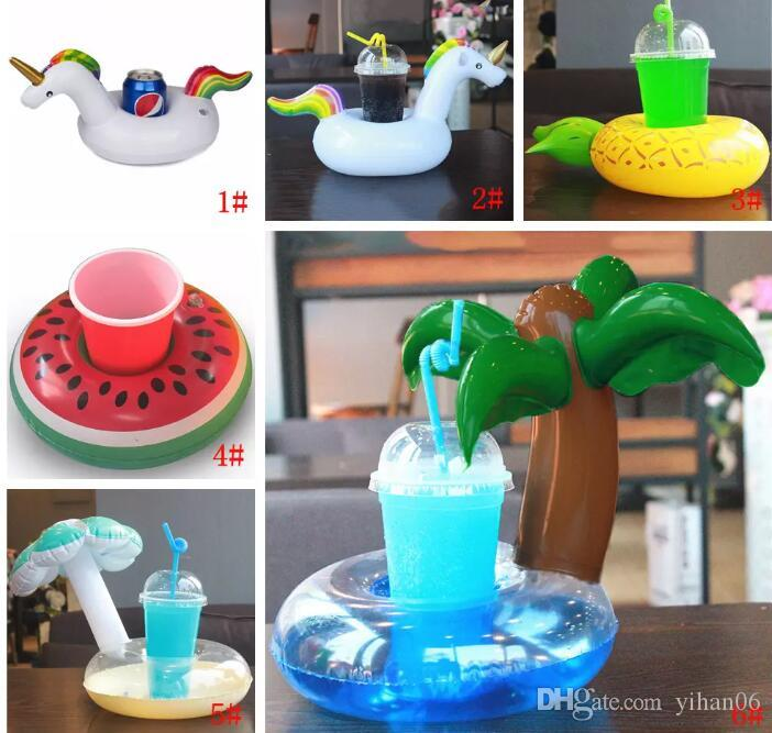Animals Inflatable Cup Holder Drink Floating Party Beverage Boats Pool Beach Stand Inflatable Drink Holder Unicorn Flamingo